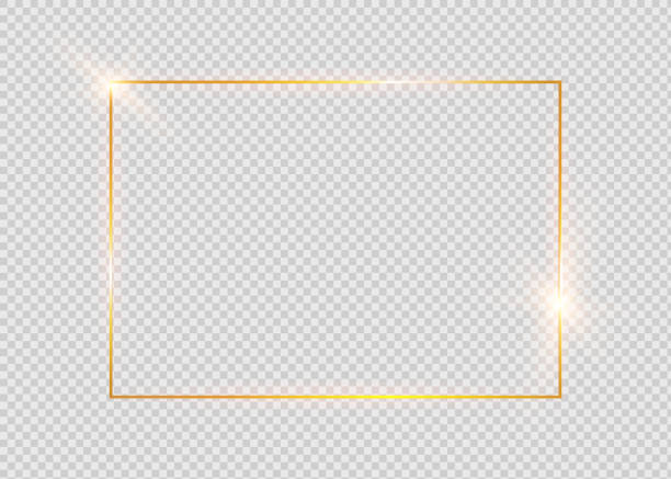 Gold shiny glowing vintage frame with shadows isolated on transparent background. Golden luxury realistic rectangle border. Gold shiny glowing vintage frame with shadows isolated on transparent background. Golden luxury realistic rectangle border. holiday background stock illustrations