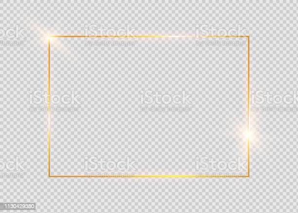 Gold Shiny Glowing Vintage Frame With Shadows Isolated On Transparent Background Golden Luxury Realistic Rectangle Border Stock Illustration - Download Image Now