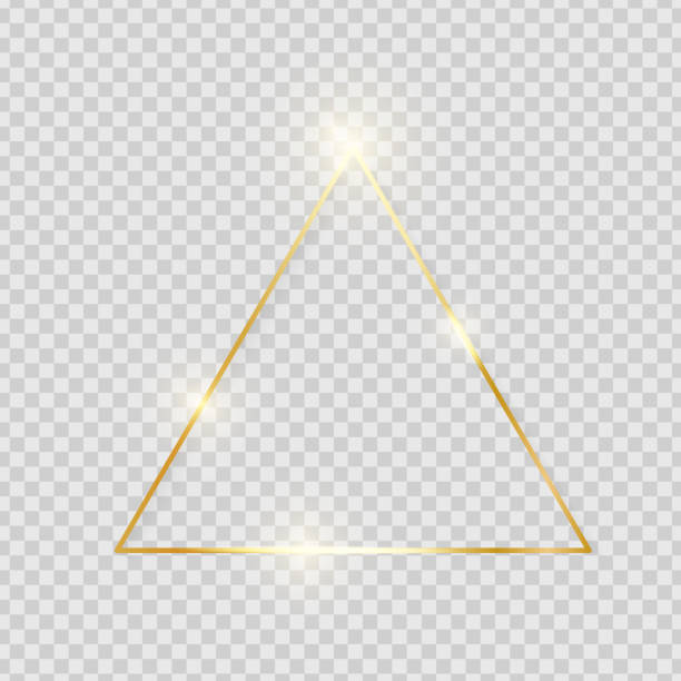 Gold shiny glowing vintage triangle frame with shadows isolated on transparent background. Golden luxury realistic border. Wedding, mothers or Valentines day concept. Xmas and New Year. Vector vector art illustration