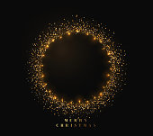 Gold shiny round frame on black background. Sparkle golden garlands. Magic light ring. Christmas bright fire glitter. Xmas decoration glowing wreath. Vector illustration isolated realistic