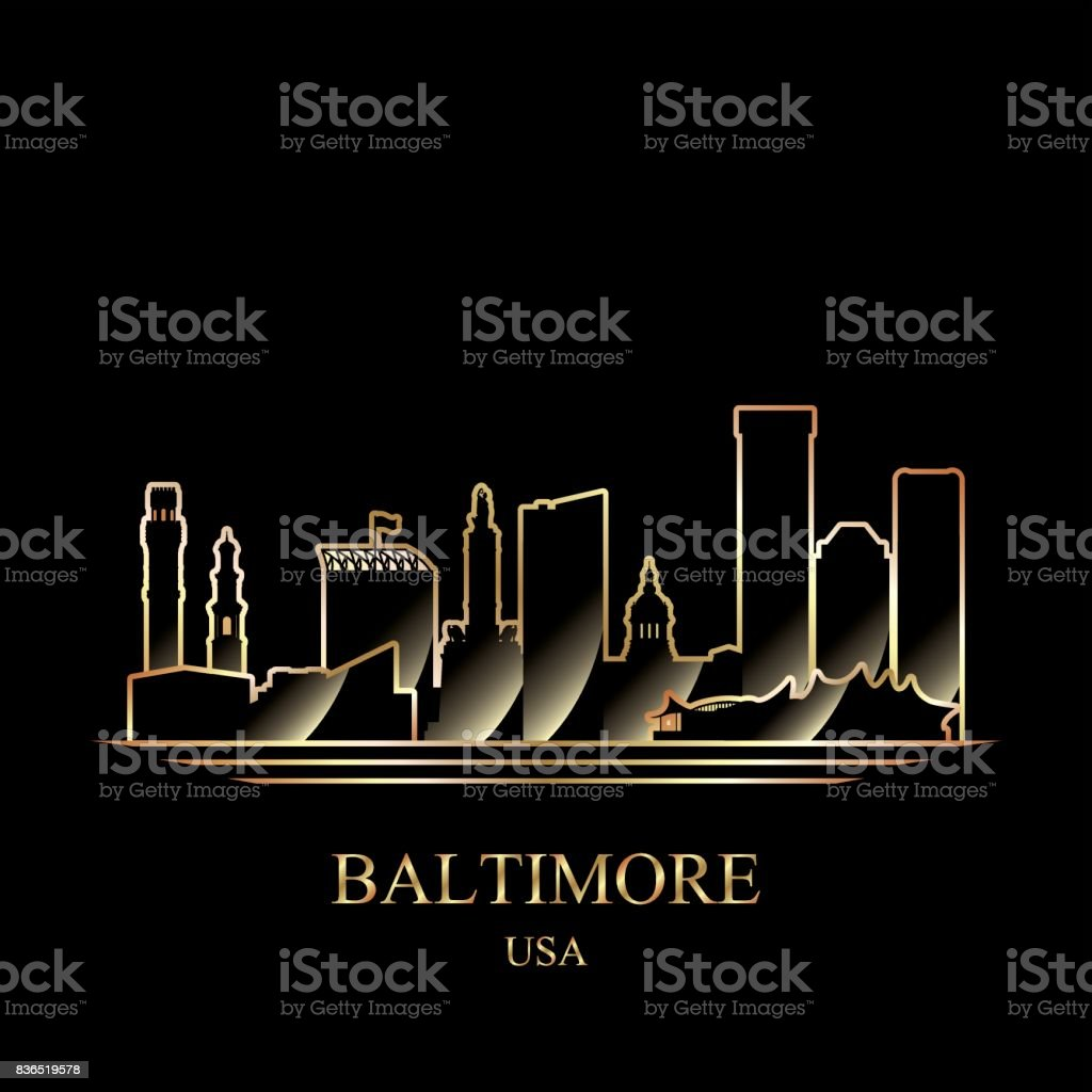 Gold silhouette of Baltimore on black background vector art illustration