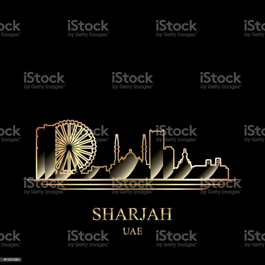 Gold silhouette of Sharjah on black background