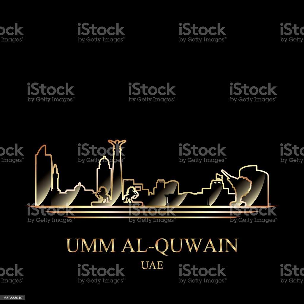 Gouden silhouet van Umm al-Qaiwain op zwarte achtergrond royalty free gouden silhouet van umm alqaiwain op zwarte achtergrond stockvectorkunst en meer beelden van achtergrond - thema