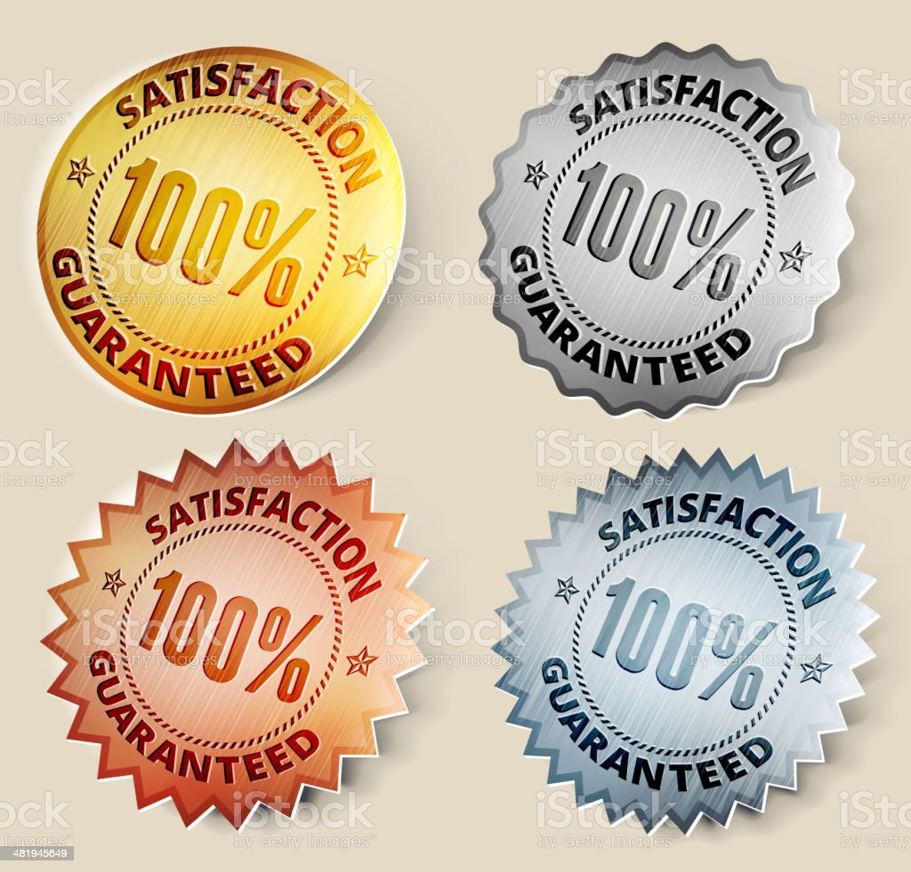 Gold, Silver, and Bronze 100% Satisfaction Medals royalty-free stock vector art