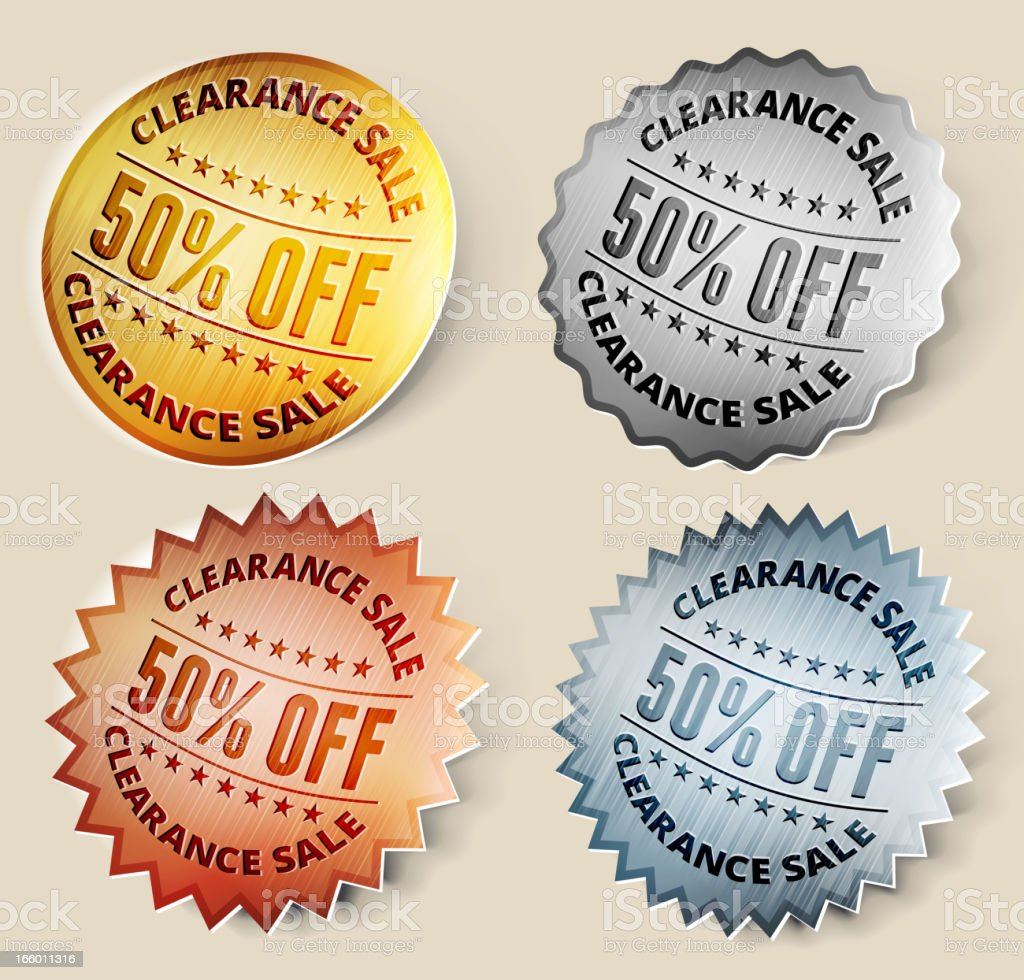 Gold, Silver, and Bronze 50% off Clearance Sale royalty-free stock vector art