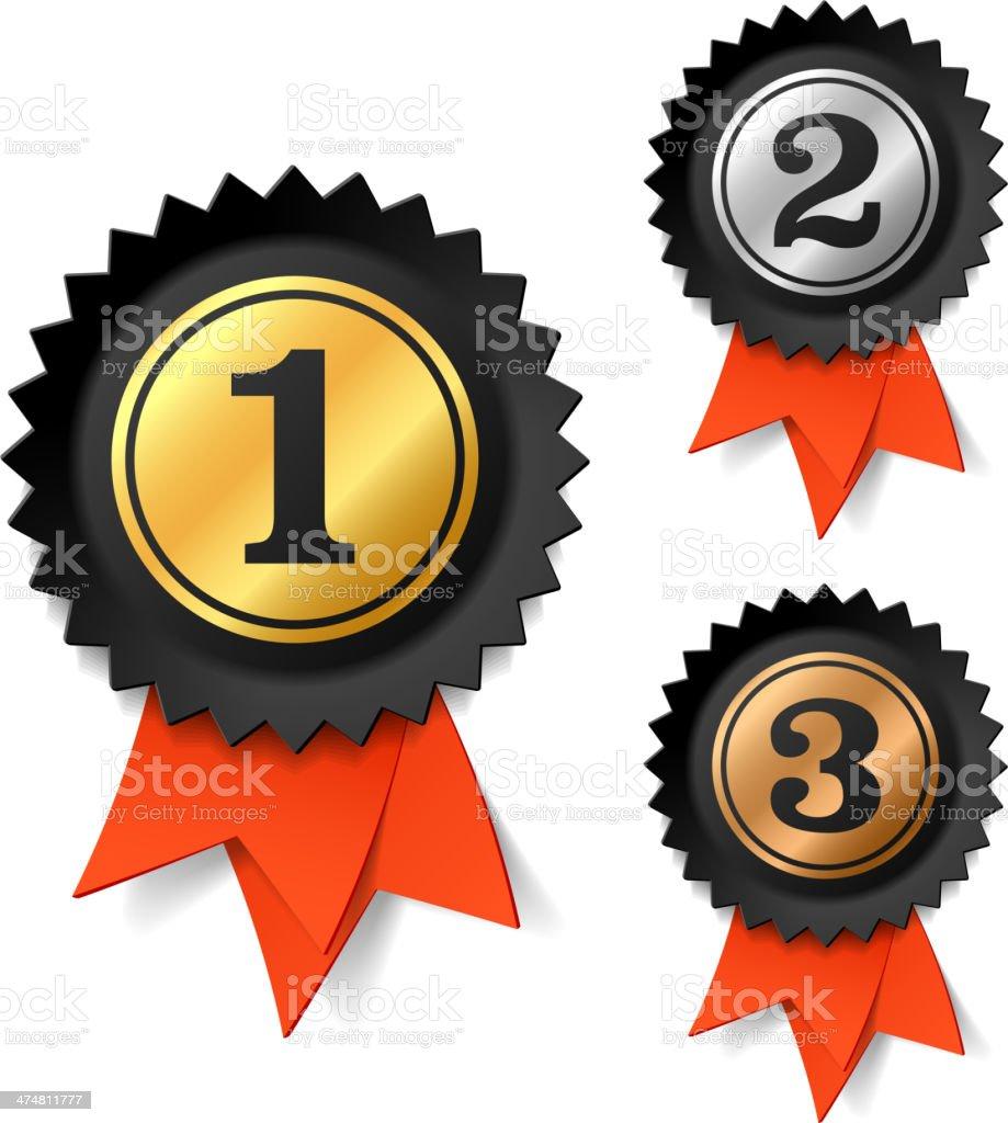 Gold, silver and bronze award ribbons vector art illustration