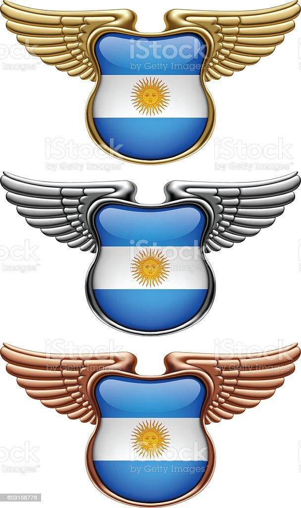 Gold, silver and bronze award signs with wings and Argentina flag - ilustração de arte em vetor