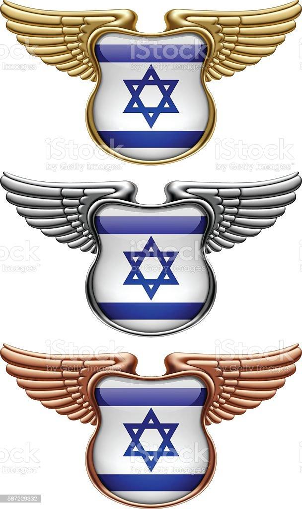 Gold, silver and bronze award signs with wings and Israel flag - ilustração de arte em vetor