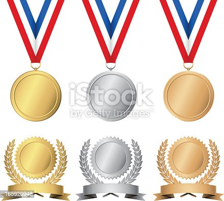 Set of award medals in gold, silver and bronze.  Each element is grouped separately for easy editing.  Colors are just a few global swatches, so file can be recolored easily.