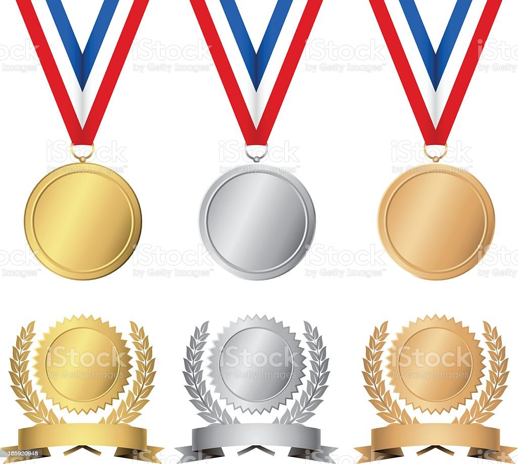 Gold, silver and bronze awards and medals vector art illustration