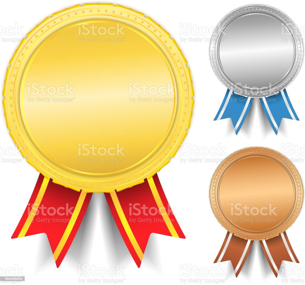 Gold silver and bronze blank medals with space to write name royalty-free stock vector art
