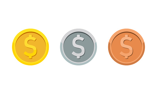 Gold, silver and bronze coins with dollar symbol. Rank medal flat icon set. Vector on isolated white background. EPS 10