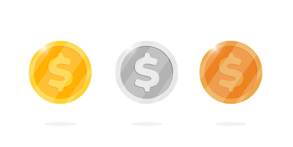 Gold silver and bronze dollar metal money coin set. Vector flat cartoon finance symbol isolated illustration for web game or interface