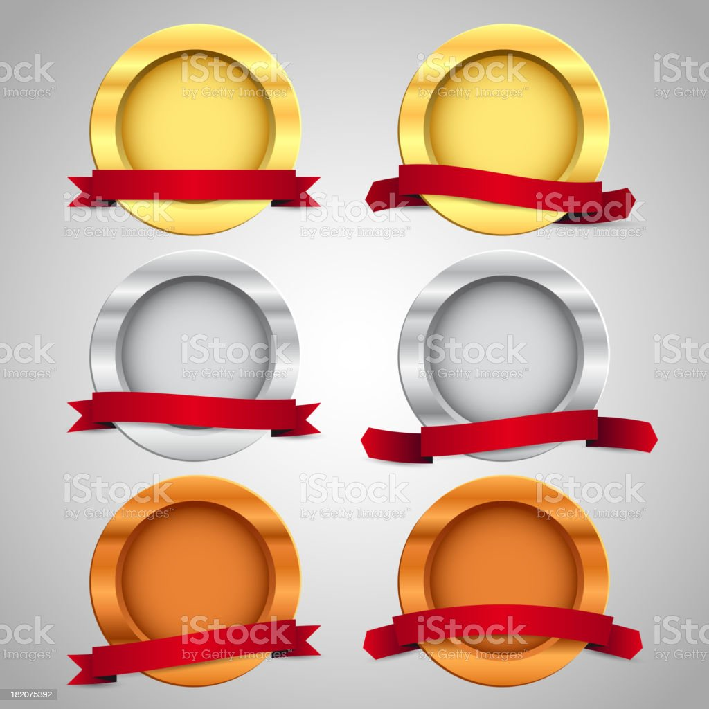 Gold, silver and bronze games related set royalty-free stock vector art