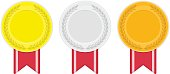 Gold silver and bronze medal icon.