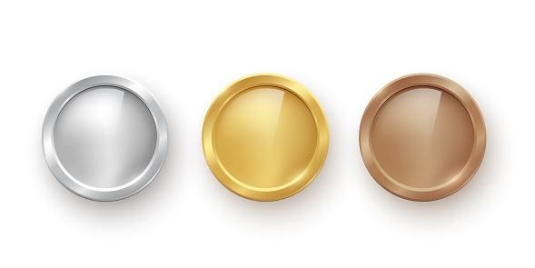 Gold, silver and bronze medals set. Blank metal prize awards vector illustration. Shiny sport round badges for first, second and third place in competition on white background.