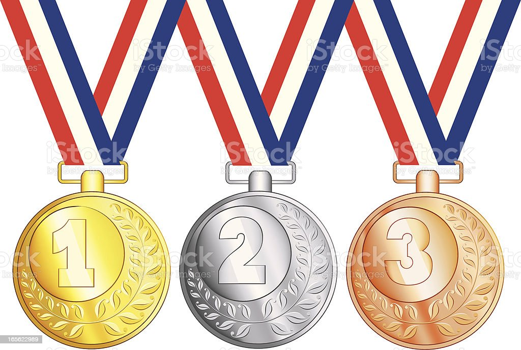 Gold, Silver and Bronze Medals royalty-free stock vector art