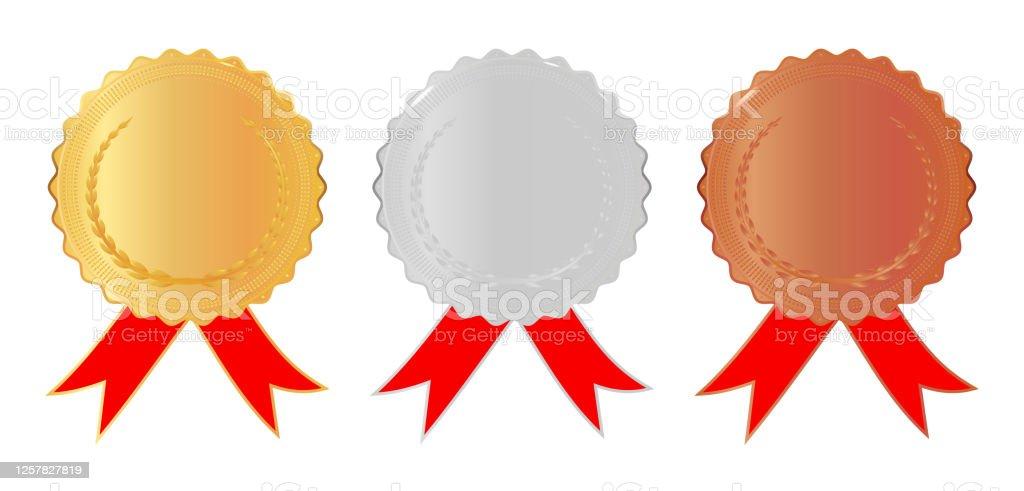金銀銅メダル腕と赤いリボン1位2位3位のメダルチャンピオン報酬白い孤立した背景にストックベクターのイラスト 3dのベクターアート素材や画像を多数ご用意 Istock