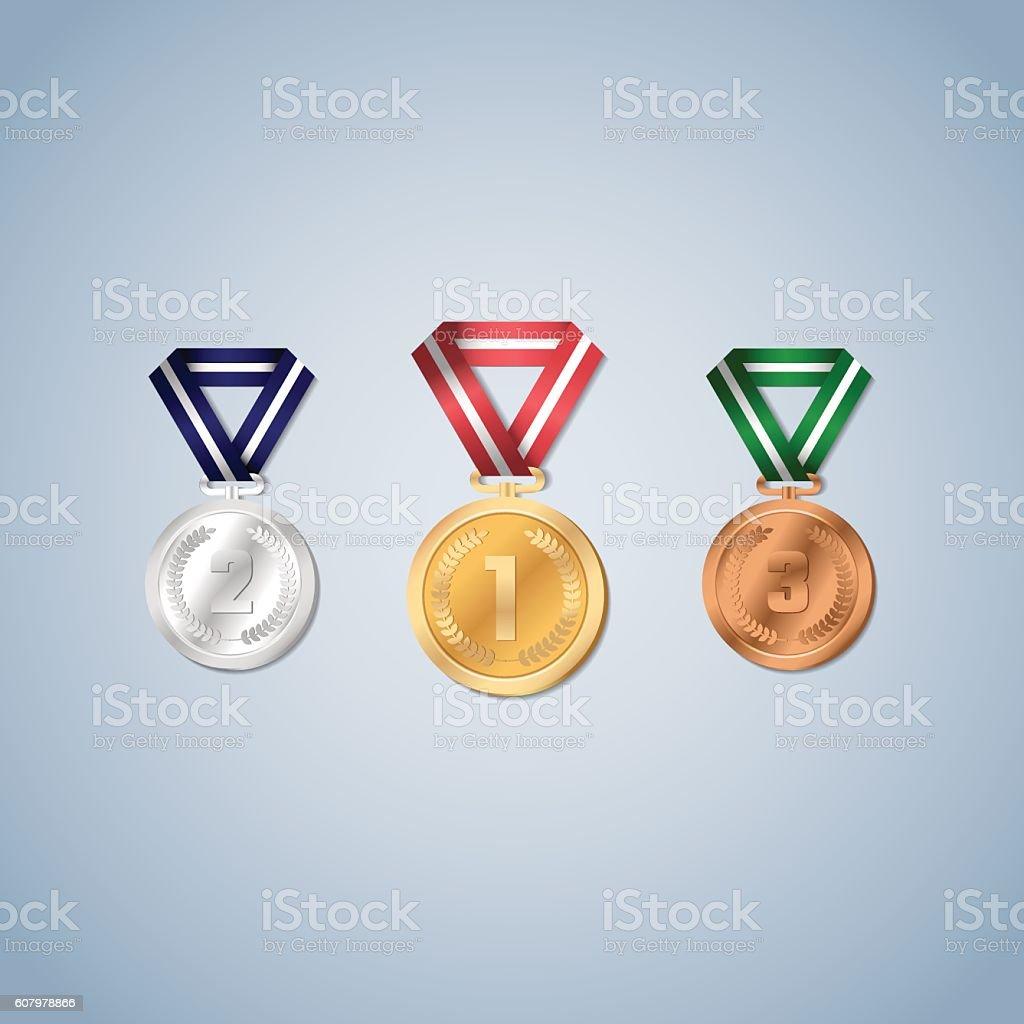 Gold, silver and bronze medals with laurel leaf. vector art illustration