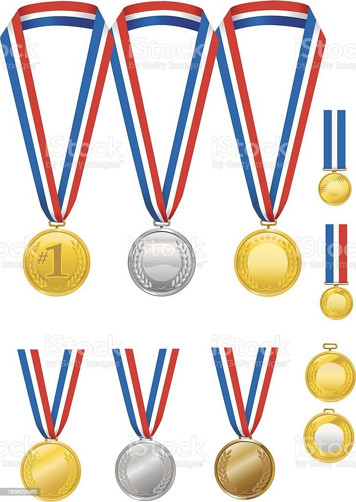 Gold, Silver and Bronze Medals with Ribbons vector art illustration