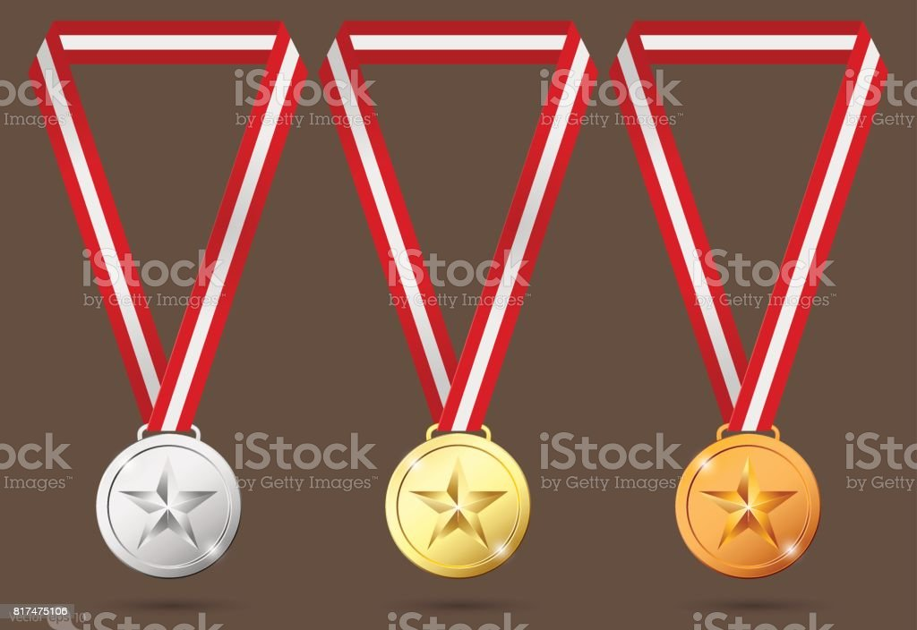 gold, silver and bronze medals.vector vector art illustration