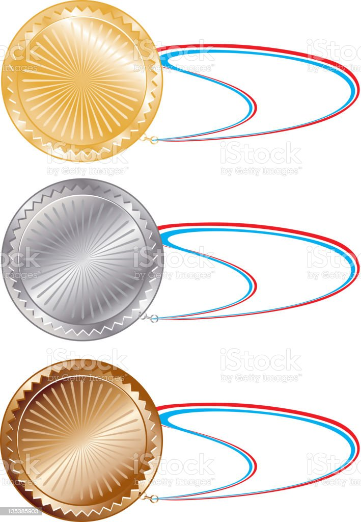 Gold, Silver and Bronze or . Medals with straps royalty-free gold silver and bronze or medals with straps stock vector art & more images of achievement