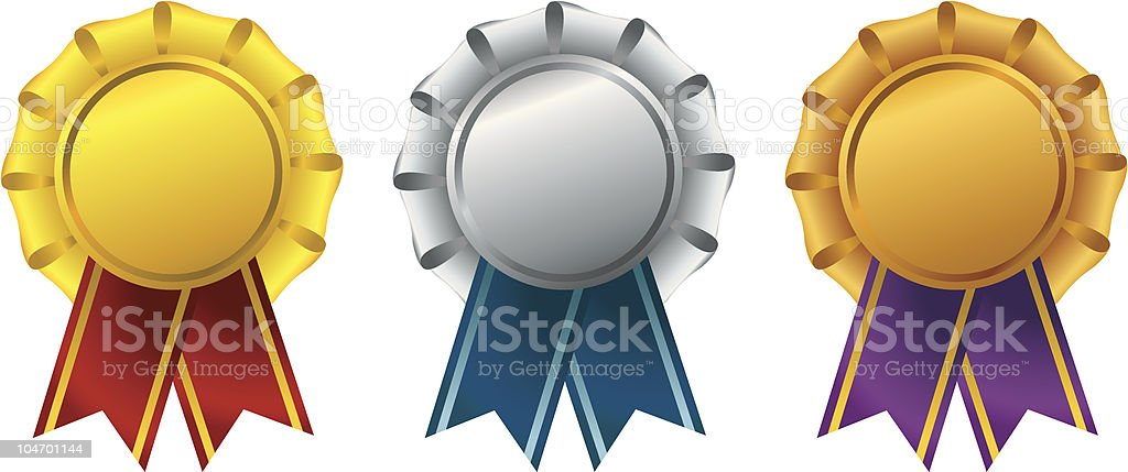 Gold silver and bronze ribbon awards royalty-free gold silver and bronze ribbon awards stock vector art & more images of achievement