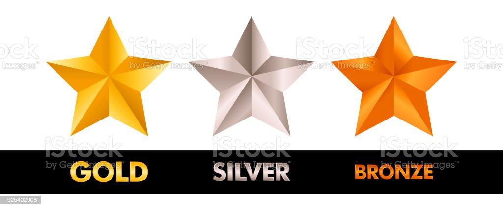 Gold Silver and Bronze star set vector illustration vector art illustration