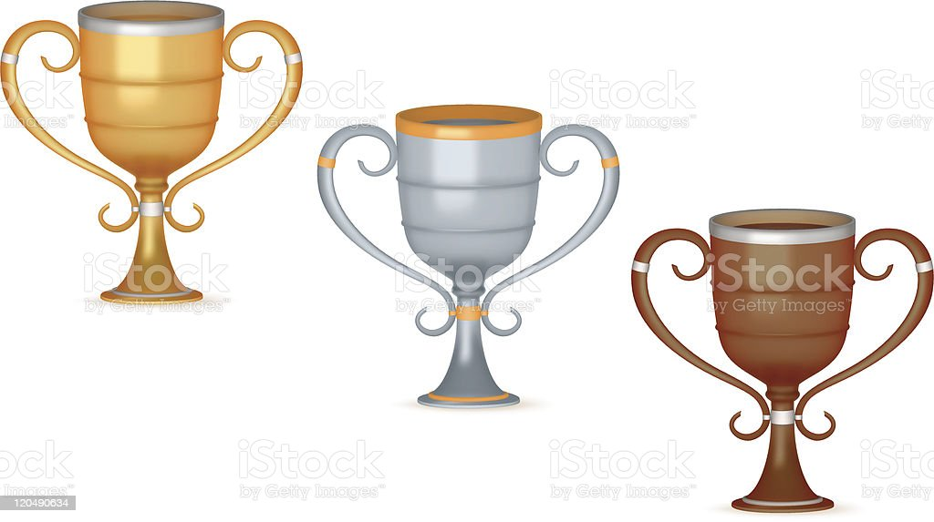 Gold, silver and bronze trophies royalty-free gold silver and bronze trophies stock vector art & more images of achievement