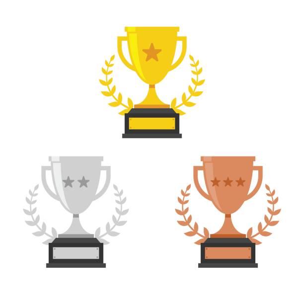 ilustrações, clipart, desenhos animados e ícones de ouro, prata e bronze copa do troféu - troféu