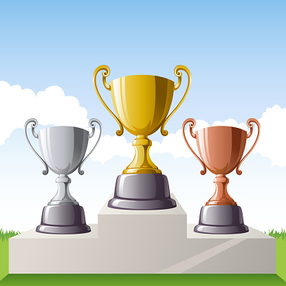 Gold, Silver and Bronze Trophy Set