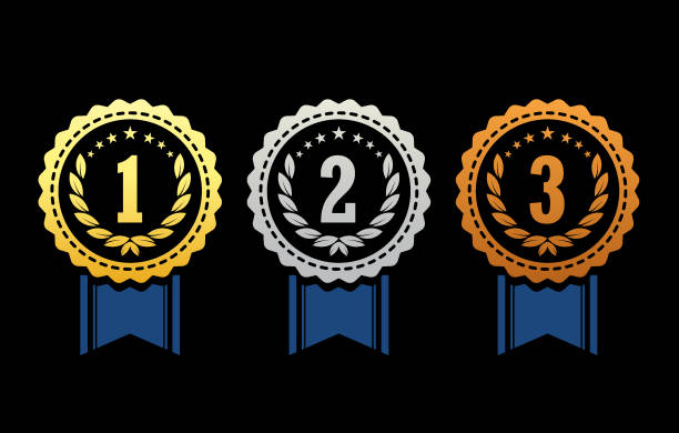 Gold, silver and bronze winner award medals Vector of gold, silver and bronze winner award medals with ribbon. EPS Ai 10 file format. gezond stock illustrations