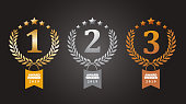 Vector of gold, silver and bronze winner award medals with ribbon. EPS Ai 10 file format.