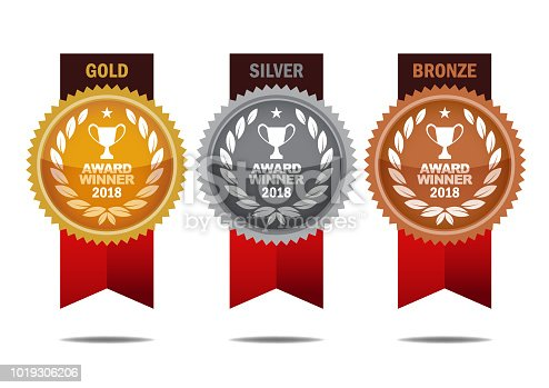 Vector Gold, silver and bronze winner medals with red color ribbons. EPS Ai 10 file format.