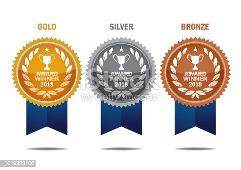Vector Gold, silver and bronze winner medals with blue color ribbons. EPS Ai 10 file format.