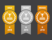 Vector Gold, silver and bronze winner medals with ribbons. EPS Ai 10 file format.