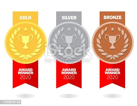 Vector of Gold, silver and bronze winner award medals with red color ribbon on white background. EPS ai 10 file format.