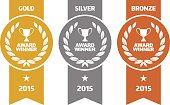 Vector of Gold, silver and bronze winner award medals. EPS ai 10 file format.