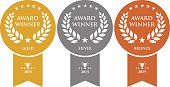 istock Gold, silver and bronze winner medals 475732998