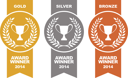 Gold, silver and bronze winner medals