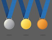 Vector of gold, silver and bronze winner award medals with color ribbon. EPS ai 10 file format.