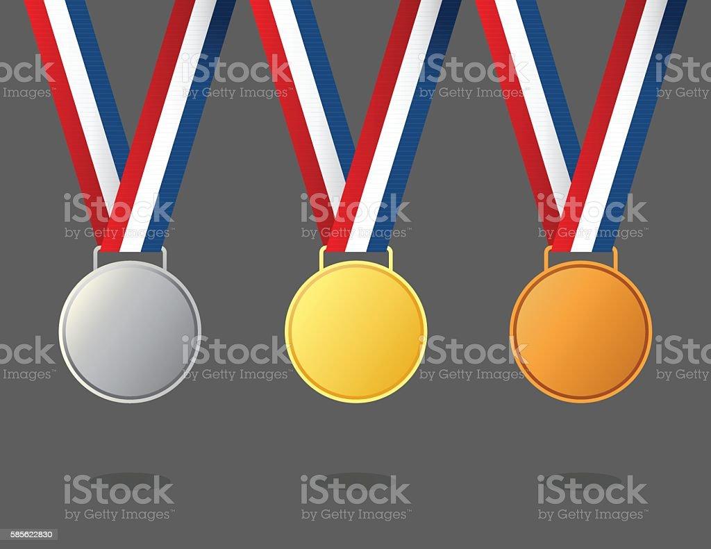 Gold, silver and bronze winner medals vector art illustration