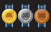 Vector of Gold, silver and bronze winner award medals with blue color ribbon on black background. EPS ai 10 file format.
