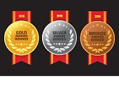 Vector of Gold, silver and bronze winner award medals with red color ribbon on black background. EPS ai 10 file format.