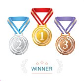 Gold, Silver and Bronze Winner medals set on white background. Also, three stars, laurel wreath and inscription - Winner.