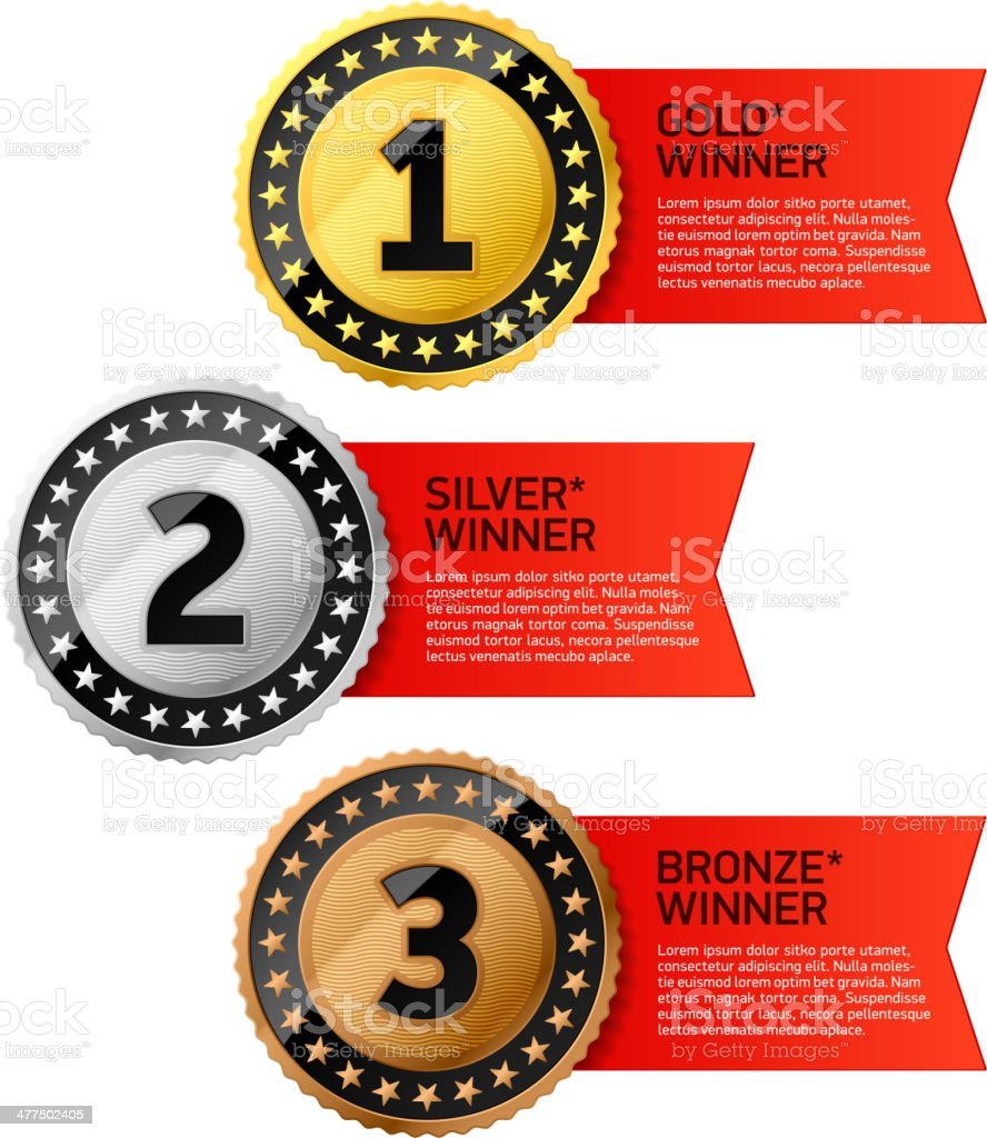 Gold, Silver and Bronze winners medals vector art illustration