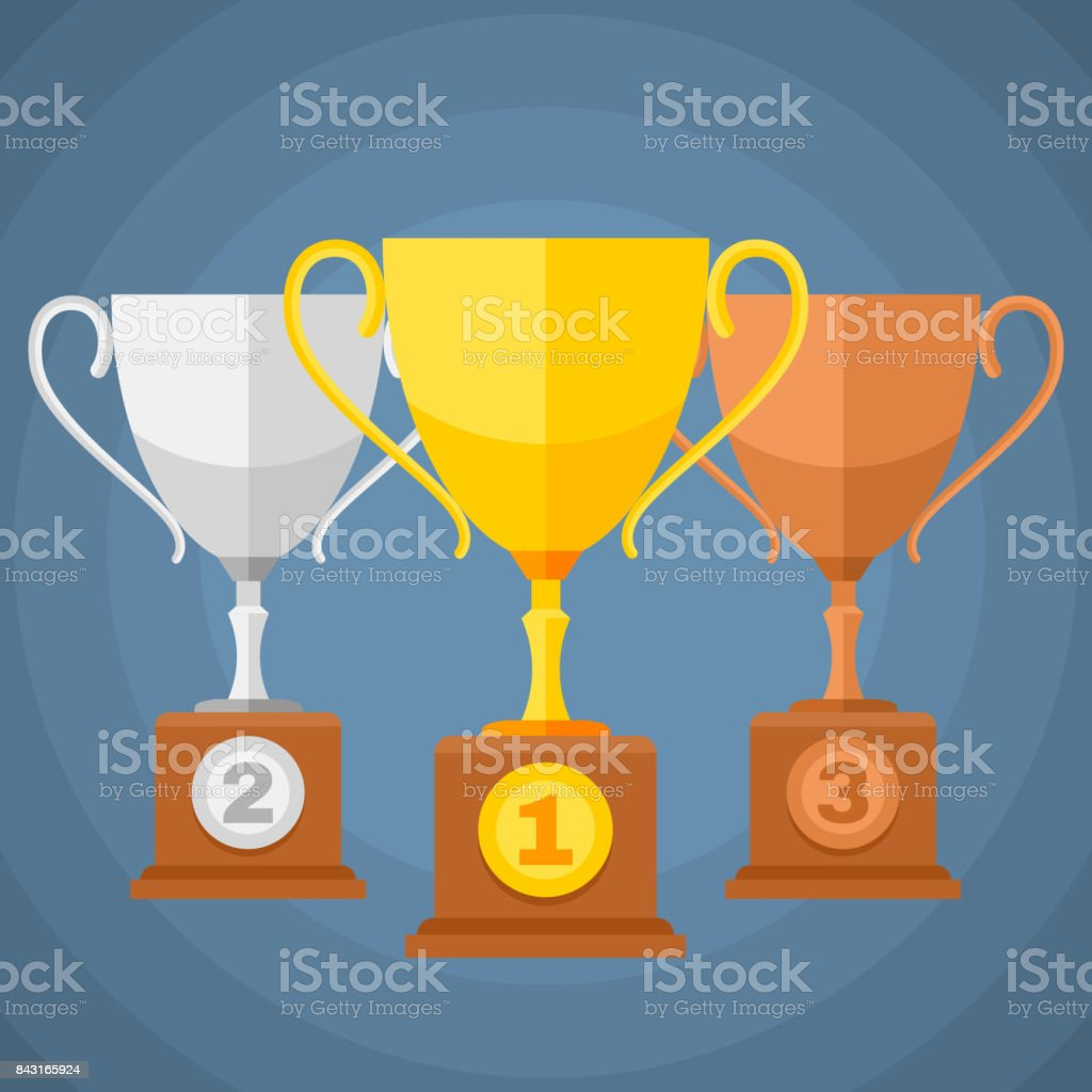 Gold, silver and bronze winners sports trophy cups. Vector classification icons vector art illustration