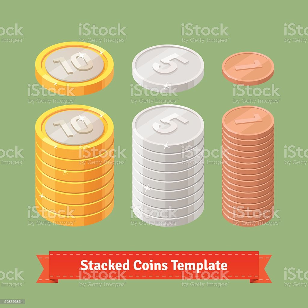 Gold, silver and copper stacked coins vector art illustration