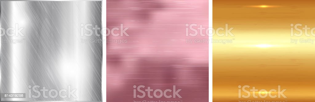 Gold, silver and rose gold gradient square background. Metallic texture. Vector vector art illustration