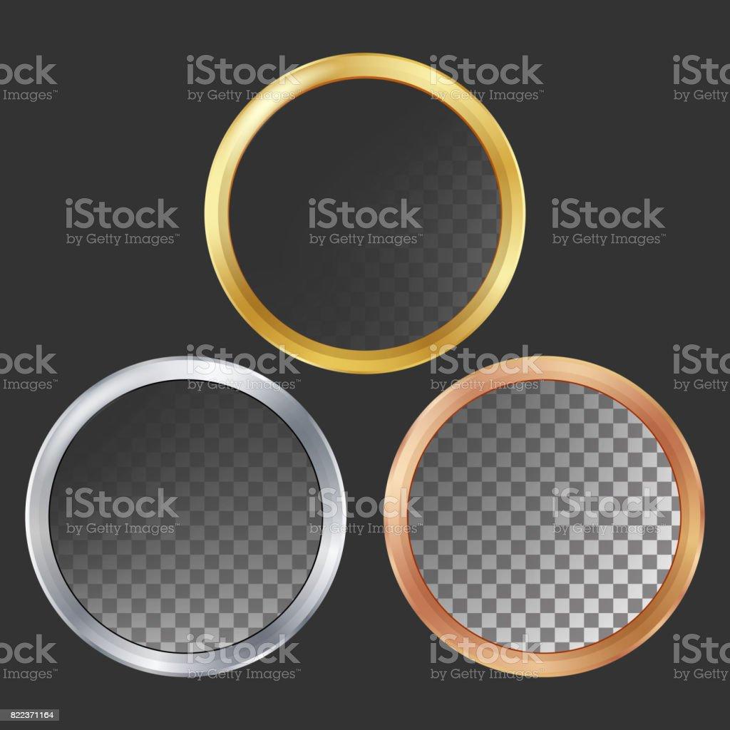 Vetor de Frames do Metal ouro, prata, Bronze, cobre. Redonda. Ilustração realista de chapas metálicas - ilustração de arte em vetor